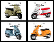 Image of four modern vespa's
